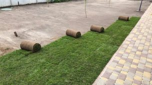 Укладка рулонного газона на загородном участке